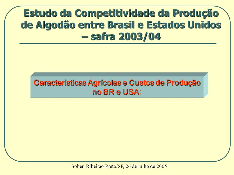 Características Agrícolas e Custos de Produção