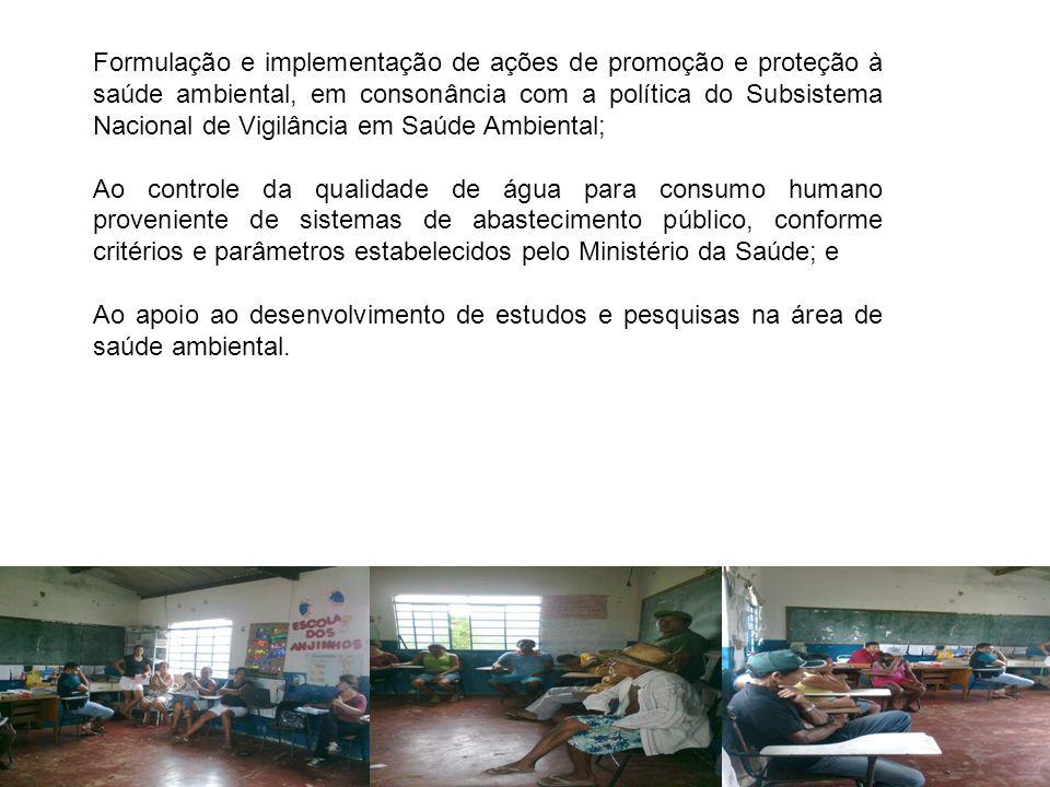 Formulação e implementação de ações de promoção e proteção à saúde ambiental, em consonância com a política do Subsistema Nacional de Vigilância em Saúde Ambiental;