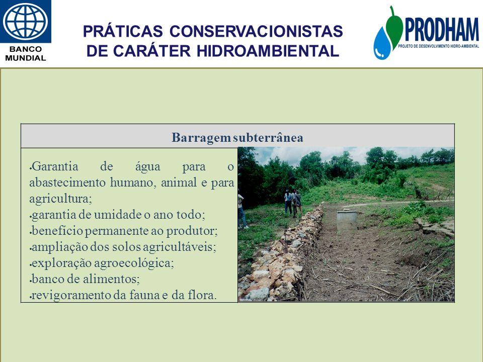 PRÁTICAS CONSERVACIONISTAS DE CARÁTER HIDROAMBIENTAL