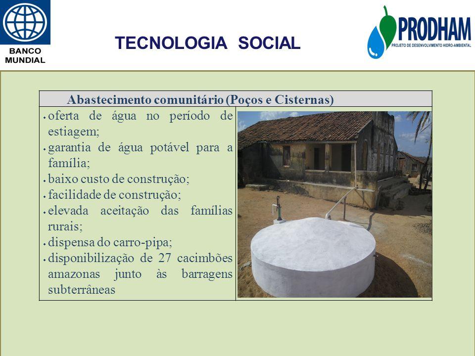 TECNOLOGIA SOCIAL Abastecimento comunitário (Poços e Cisternas)