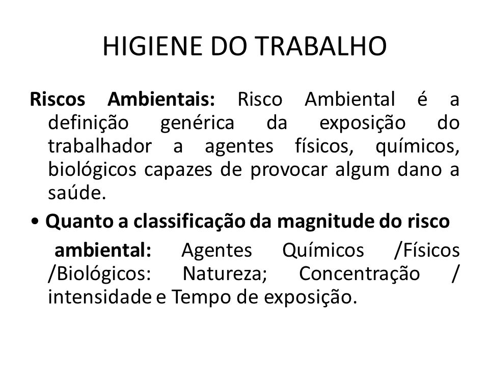 HIGIENE DO TRABALHO