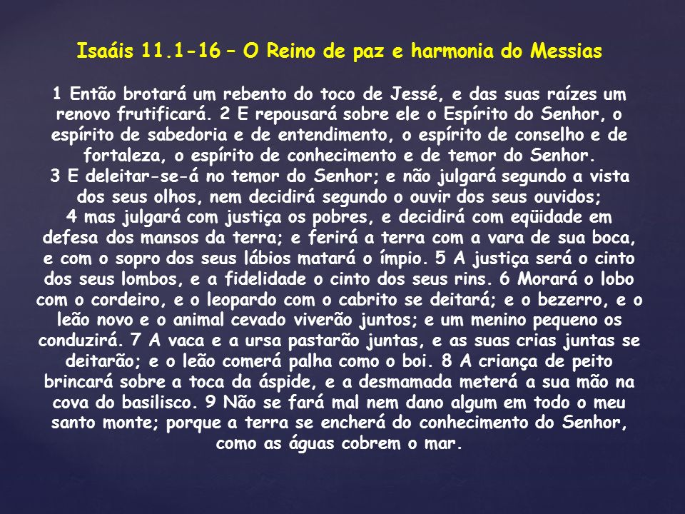 Isaáis 11.1-16 – O Reino de paz e harmonia do Messias