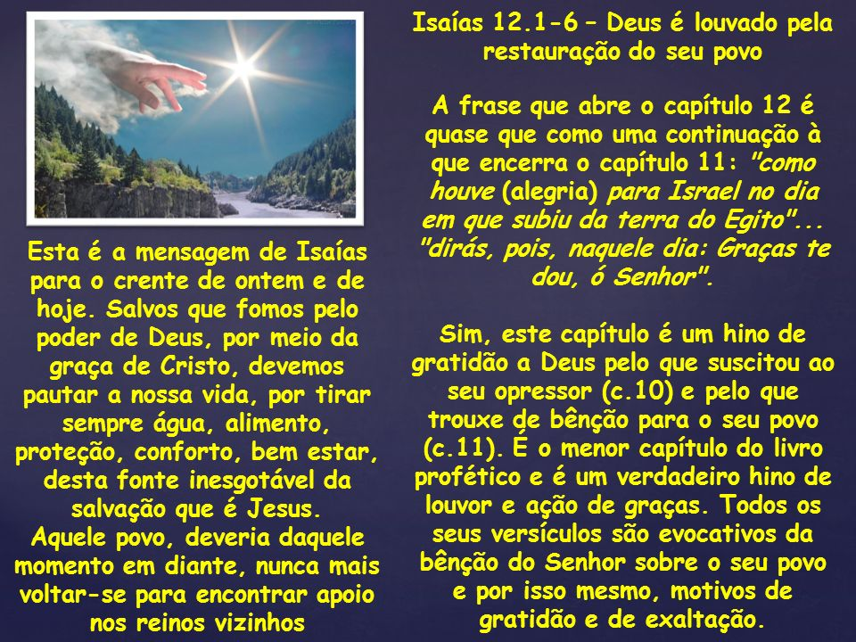 Isaías 12.1-6 – Deus é louvado pela restauração do seu povo