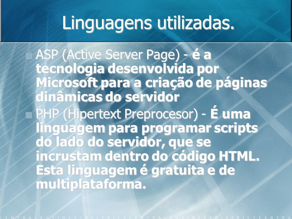 Linguagens utilizadas.
