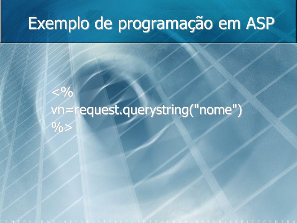 Exemplo de programação em ASP