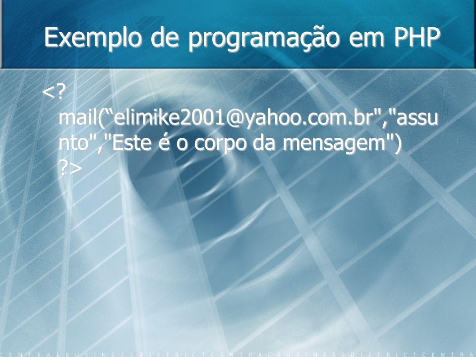 Exemplo de programação em PHP