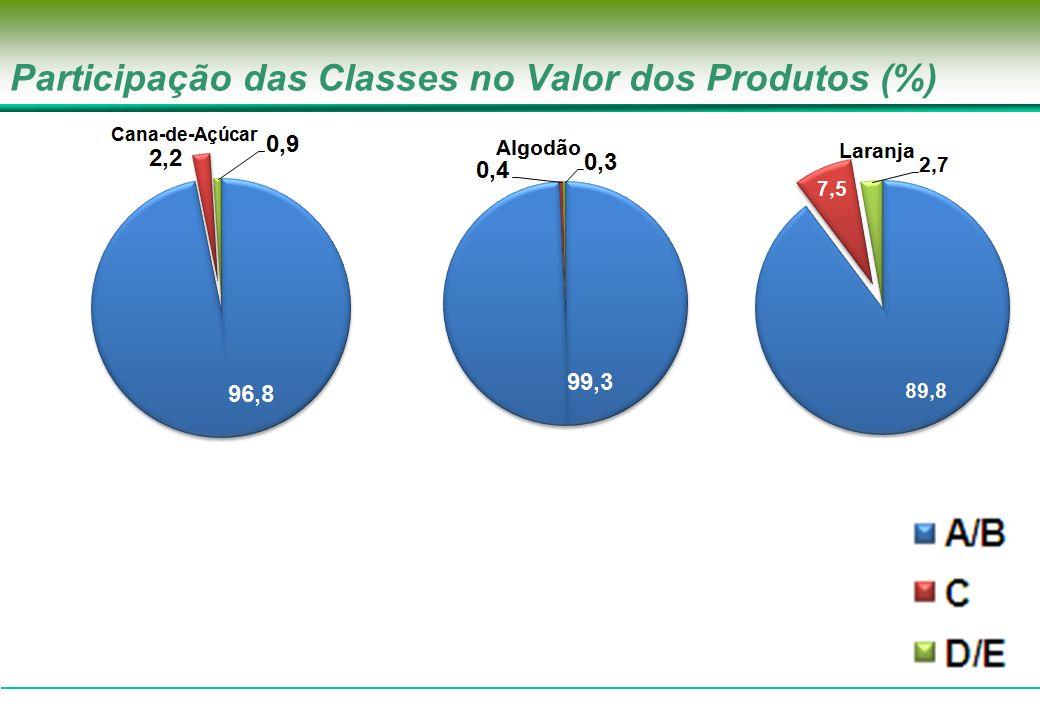 Participação das Classes no Valor dos Produtos (%)