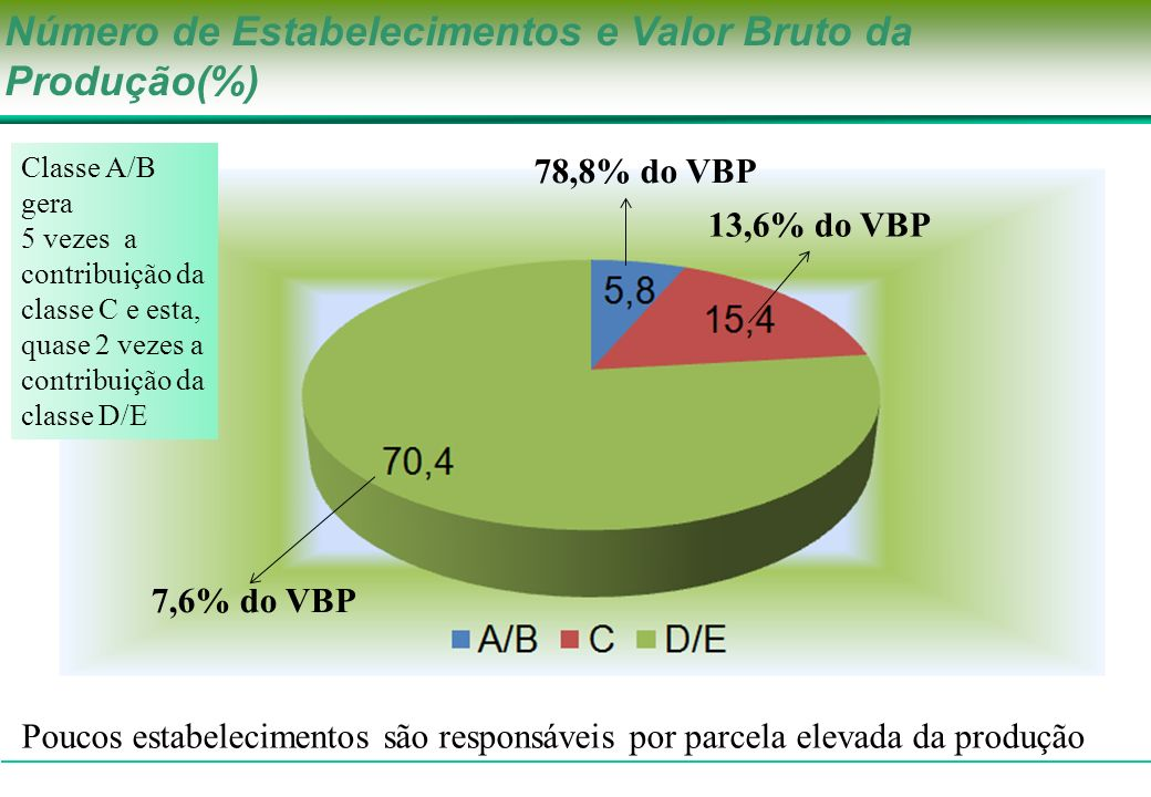 Número de Estabelecimentos e Valor Bruto da Produção(%)