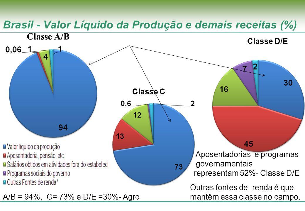 Brasil - Valor Líquido da Produção e demais receitas (%)