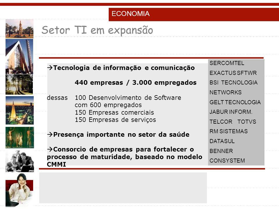 Setor TI em expansão ECONOMIA Tecnologia de informação e comunicação