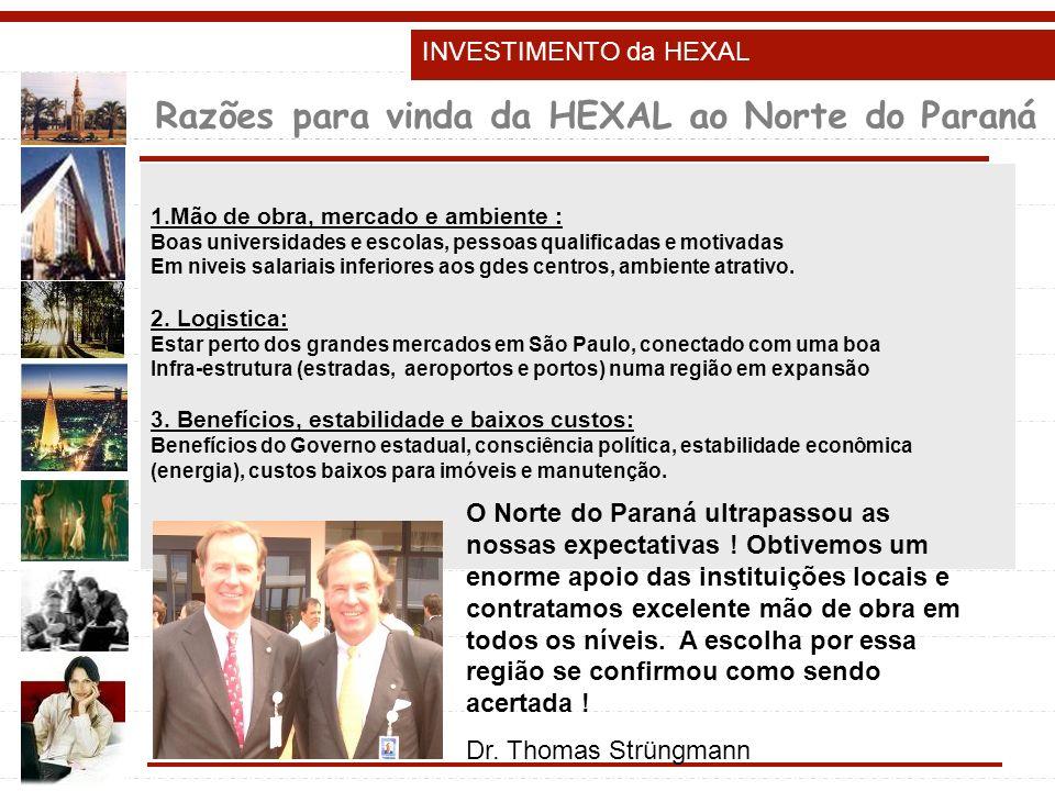 Razões para vinda da HEXAL ao Norte do Paraná