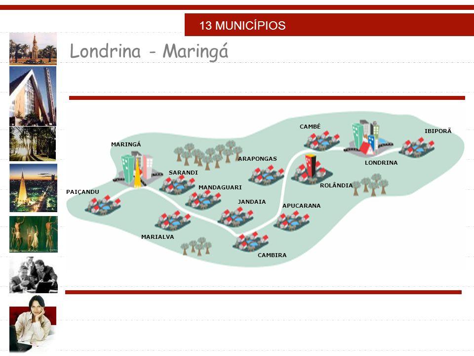 Londrina - Maringá 13 MUNICÍPIOS CAMBÉ IBIPORÃ MARINGÁ ARAPONGAS