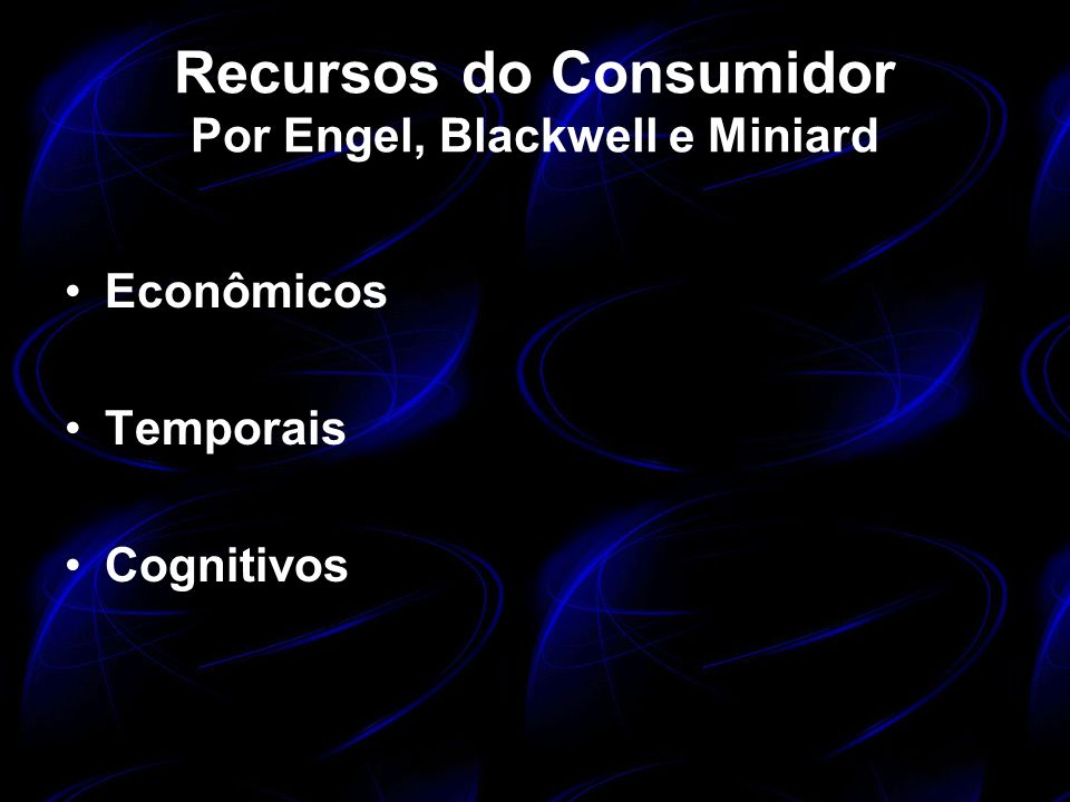 Recursos do Consumidor Por Engel, Blackwell e Miniard