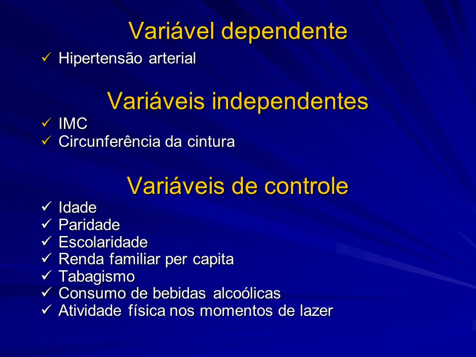 Variáveis independentes