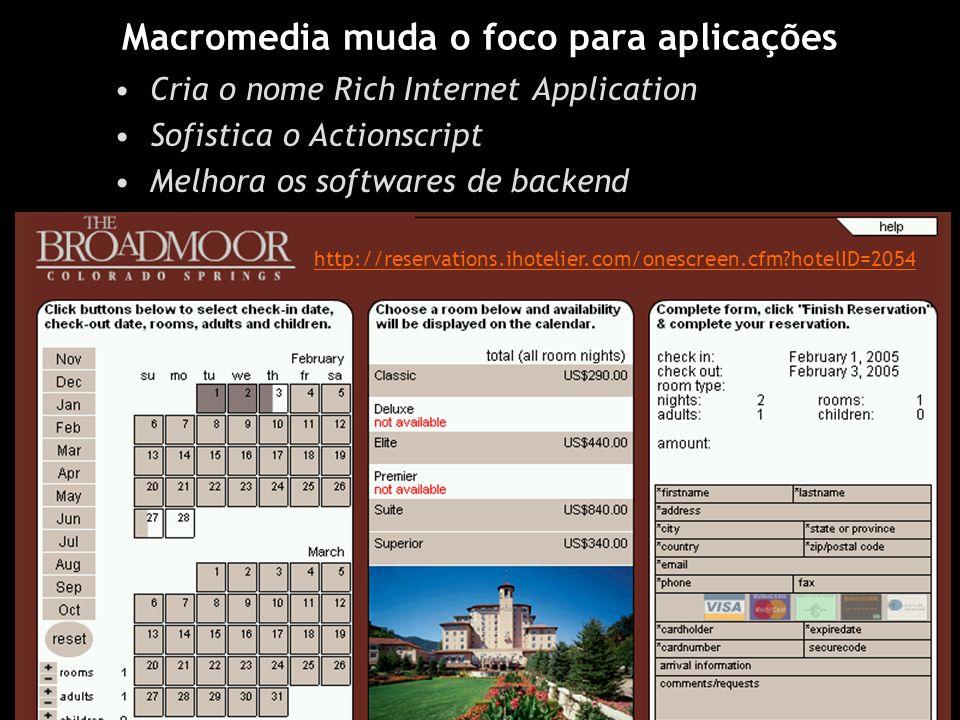 Macromedia muda o foco para aplicações