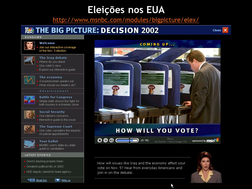 Eleições nos EUA http://www.msnbc.com/modules/bigpicture/elex/