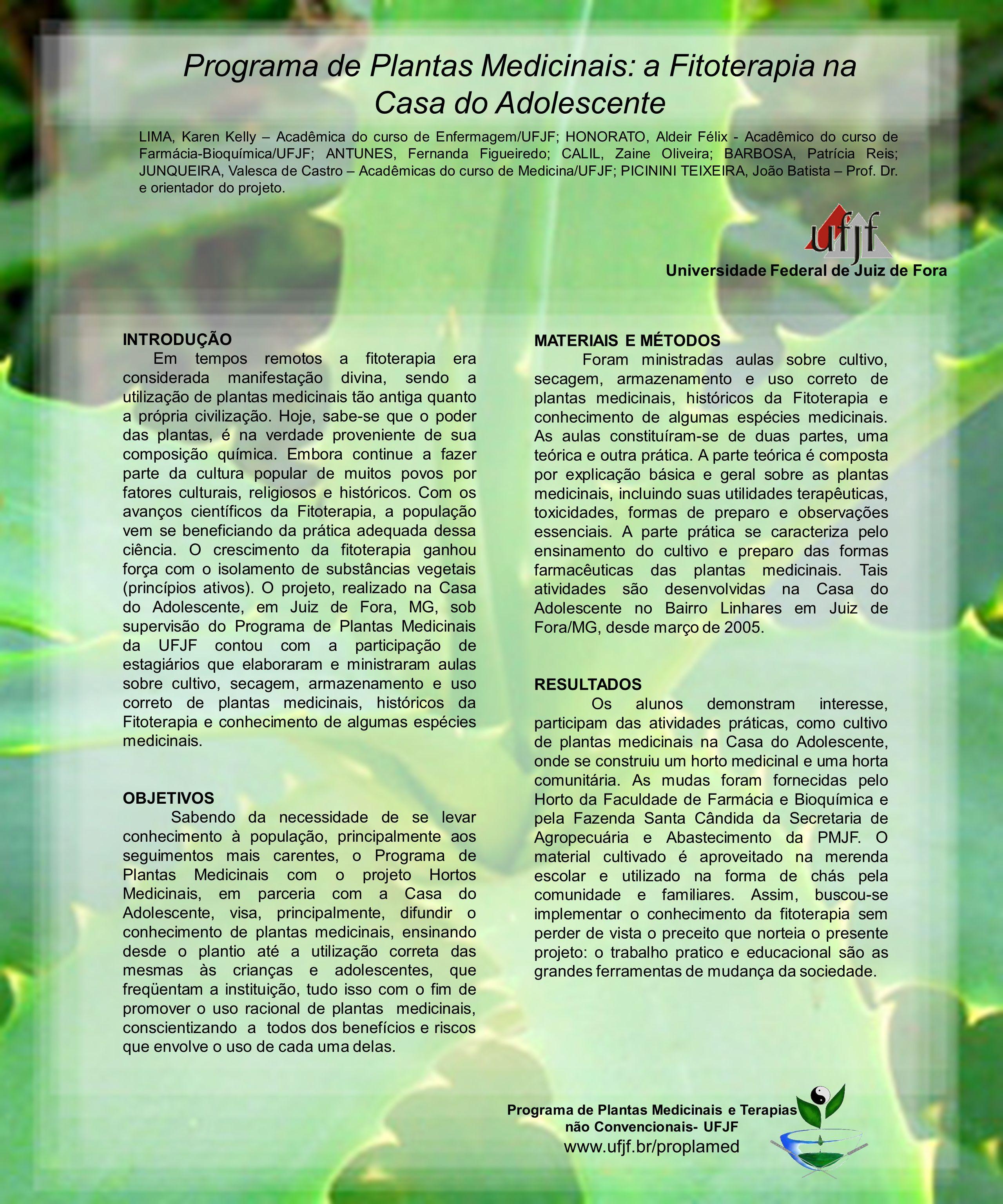 Programa de Plantas Medicinais: a Fitoterapia na Casa do Adolescente