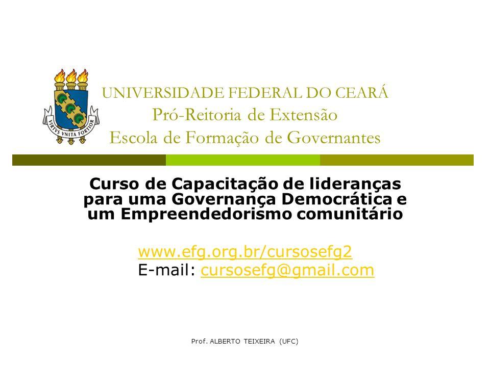 UNIVERSIDADE FEDERAL DO CEARÁ Pró-Reitoria de Extensão Escola de Formação de Governantes