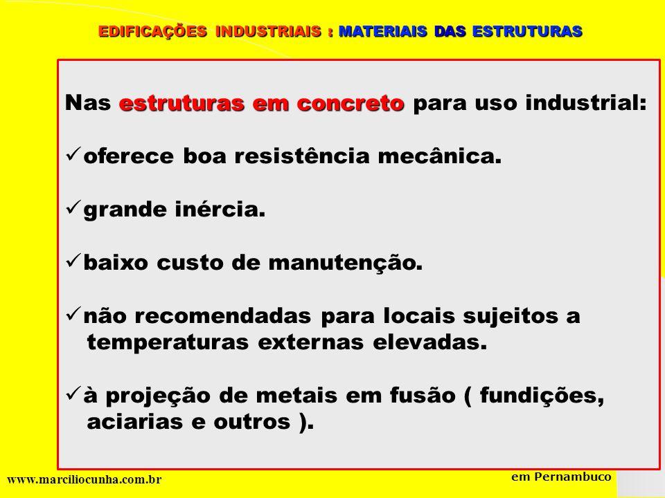 Nas estruturas em concreto para uso industrial: