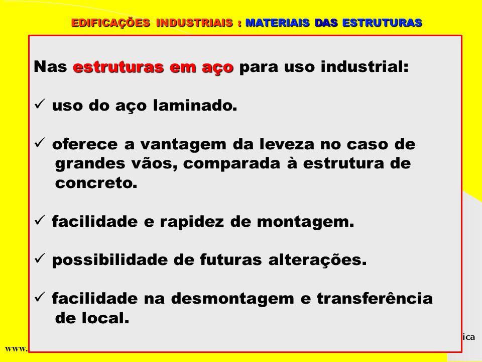 Nas estruturas em aço para uso industrial: uso do aço laminado.