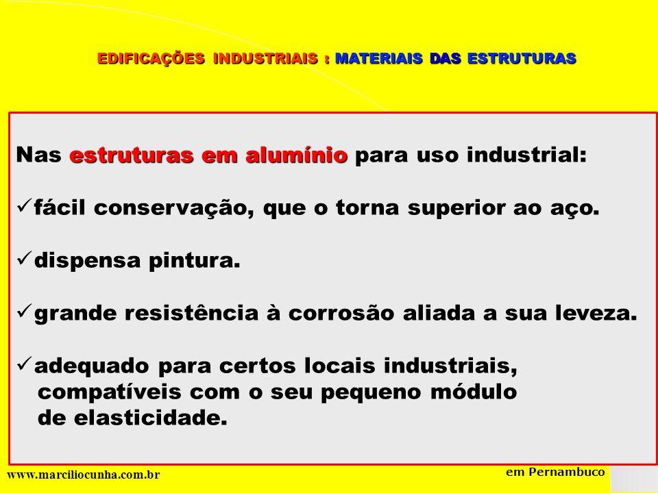 Nas estruturas em alumínio para uso industrial: