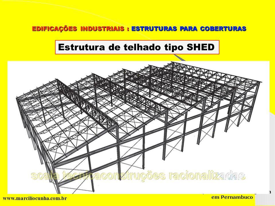 Estrutura de telhado tipo SHED