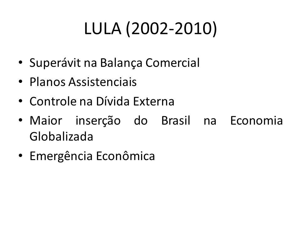 LULA (2002-2010) Superávit na Balança Comercial Planos Assistenciais