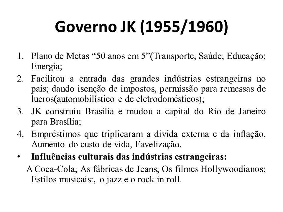 Governo JK (1955/1960) Plano de Metas 50 anos em 5 (Transporte, Saúde; Educação; Energia;
