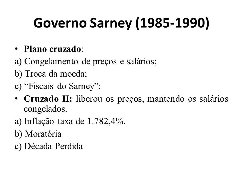 Governo Sarney (1985-1990) Plano cruzado: