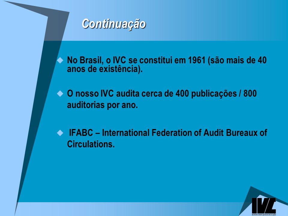 Continuação No Brasil, o IVC se constitui em 1961 (são mais de 40 anos de existência).