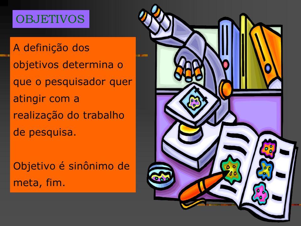 OBJETIVOSA definição dos objetivos determina o que o pesquisador quer atingir com a realização do trabalho de pesquisa.