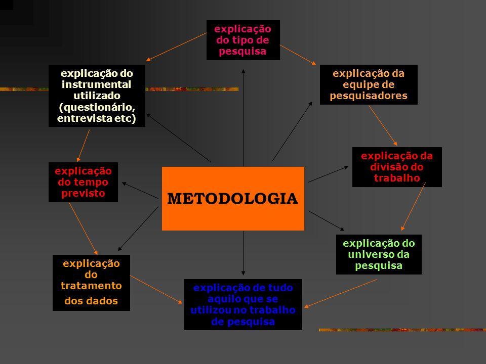 METODOLOGIA explicação do tipo de pesquisa