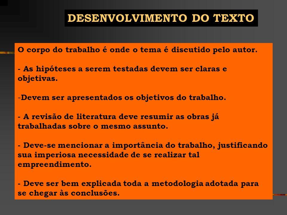 DESENVOLVIMENTO DO TEXTO