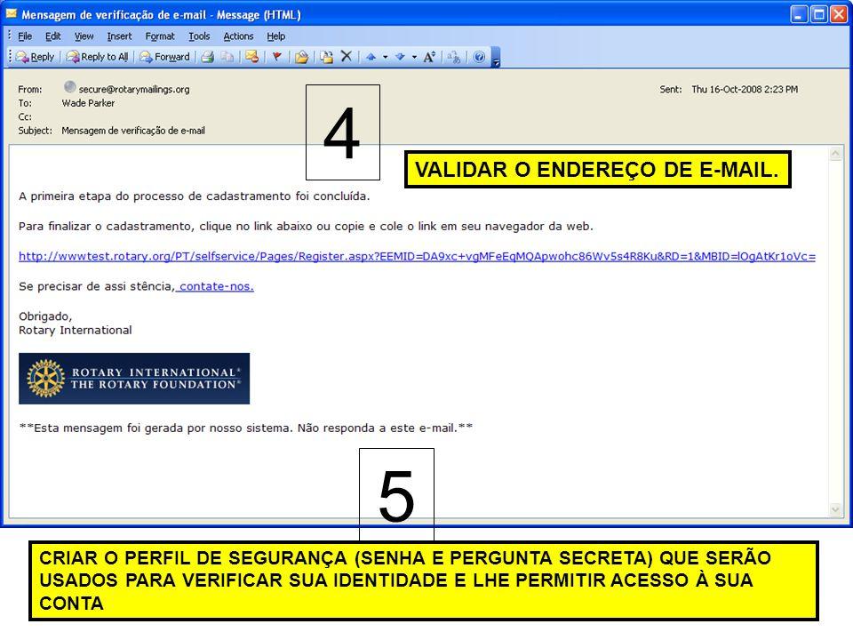 4 5 VALIDAR O ENDEREÇO DE E-MAIL.