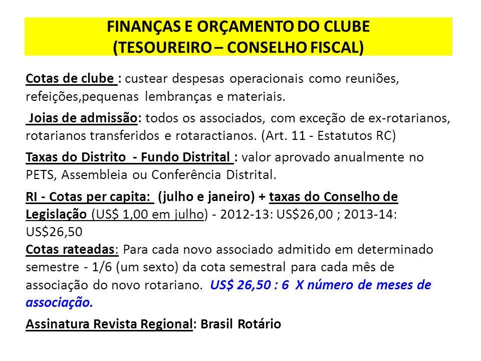 FINANÇAS E ORÇAMENTO DO CLUBE (TESOUREIRO – CONSELHO FISCAL)