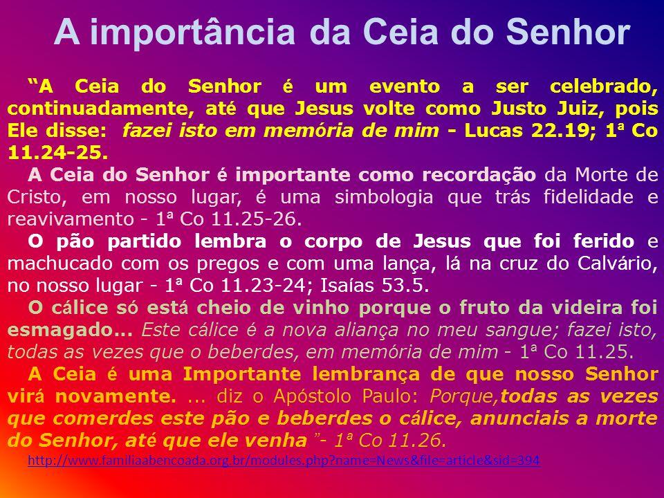 A importância da Ceia do Senhor