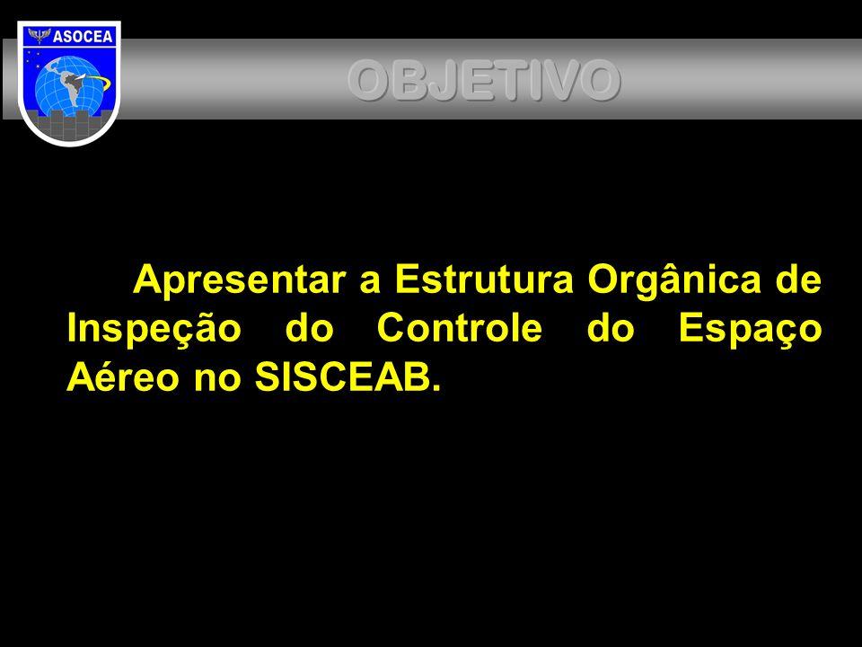 OBJETIVO Apresentar a Estrutura Orgânica de Inspeção do Controle do Espaço Aéreo no SISCEAB.