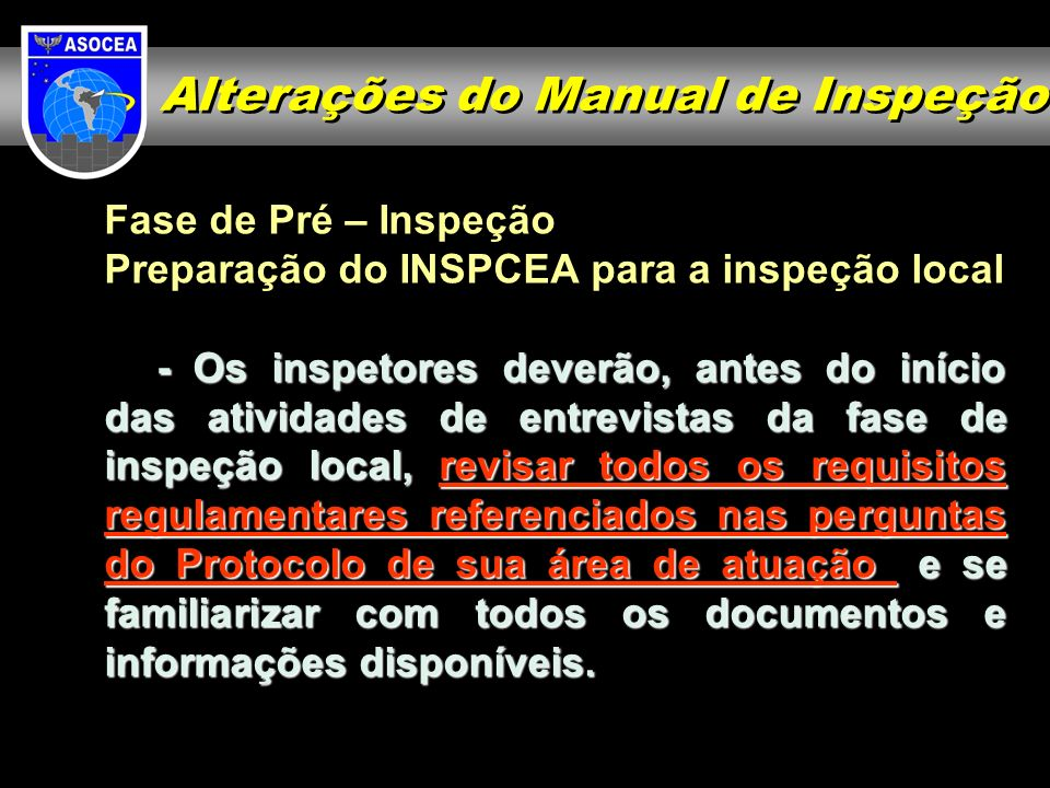 Alterações do Manual de Inspeção
