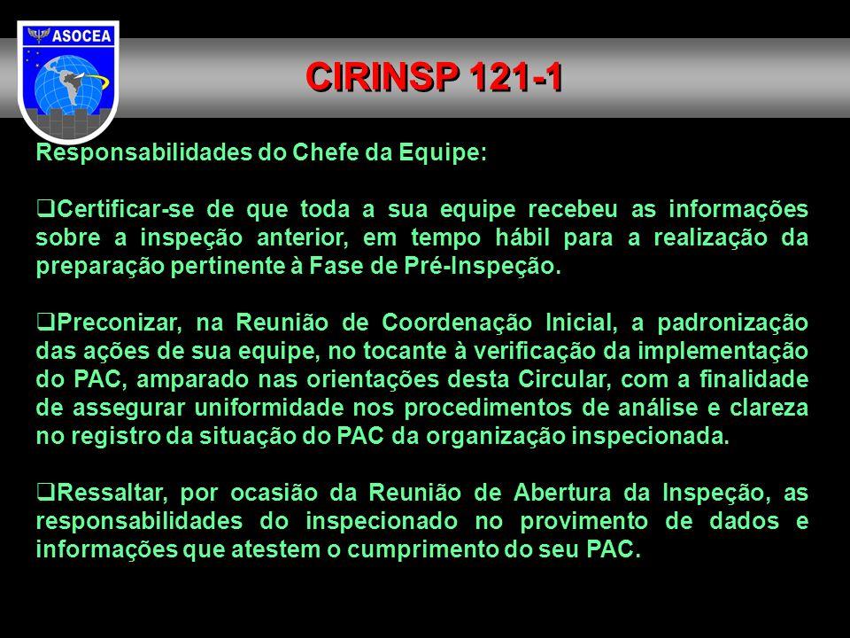 CIRINSP 121-1 Responsabilidades do Chefe da Equipe:
