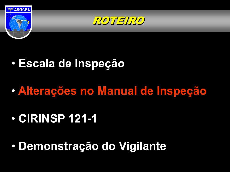 Alterações no Manual de Inspeção CIRINSP 121-1