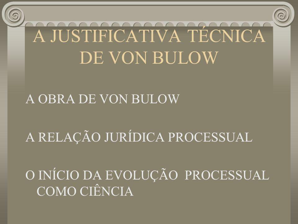 A JUSTIFICATIVA TÉCNICA DE VON BULOW