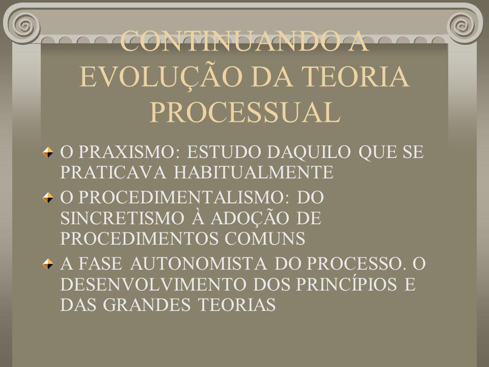 CONTINUANDO A EVOLUÇÃO DA TEORIA PROCESSUAL