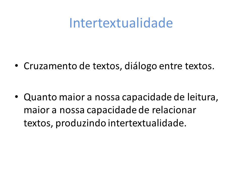 Intertextualidade Cruzamento de textos, diálogo entre textos.