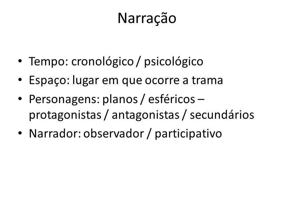 Narração Tempo: cronológico / psicológico
