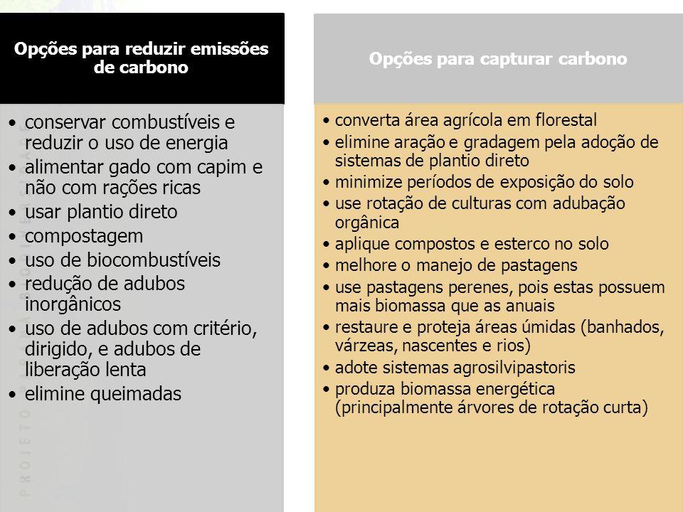 Opções para reduzir emissões de carbono Opções para capturar carbono