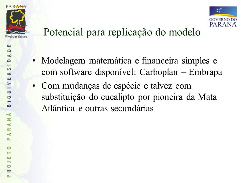 Potencial para replicação do modelo