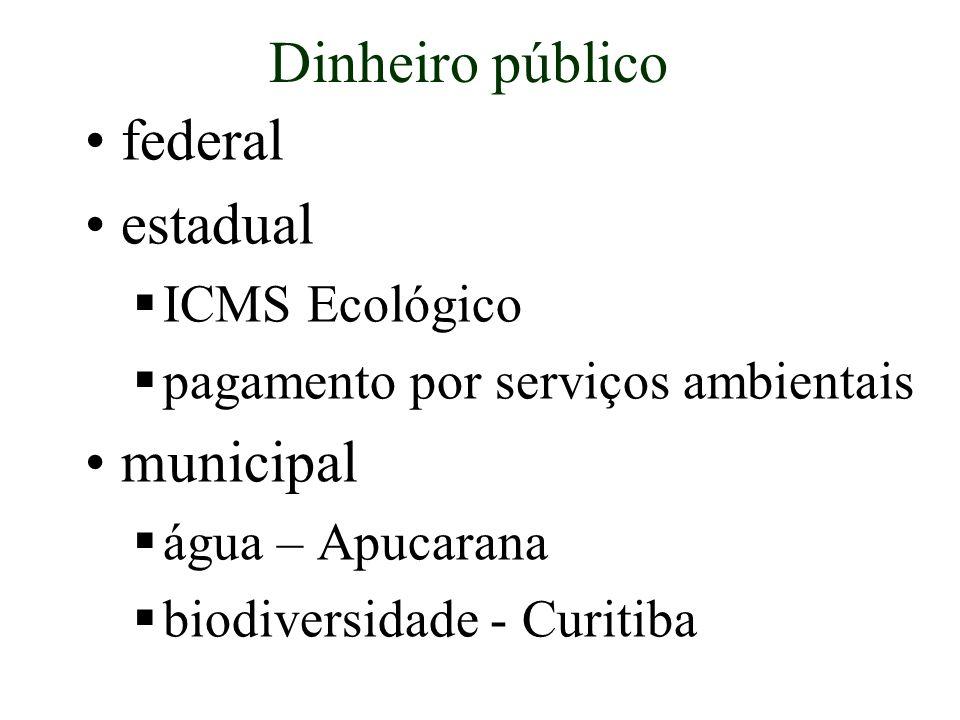 Dinheiro público federal estadual municipal ICMS Ecológico