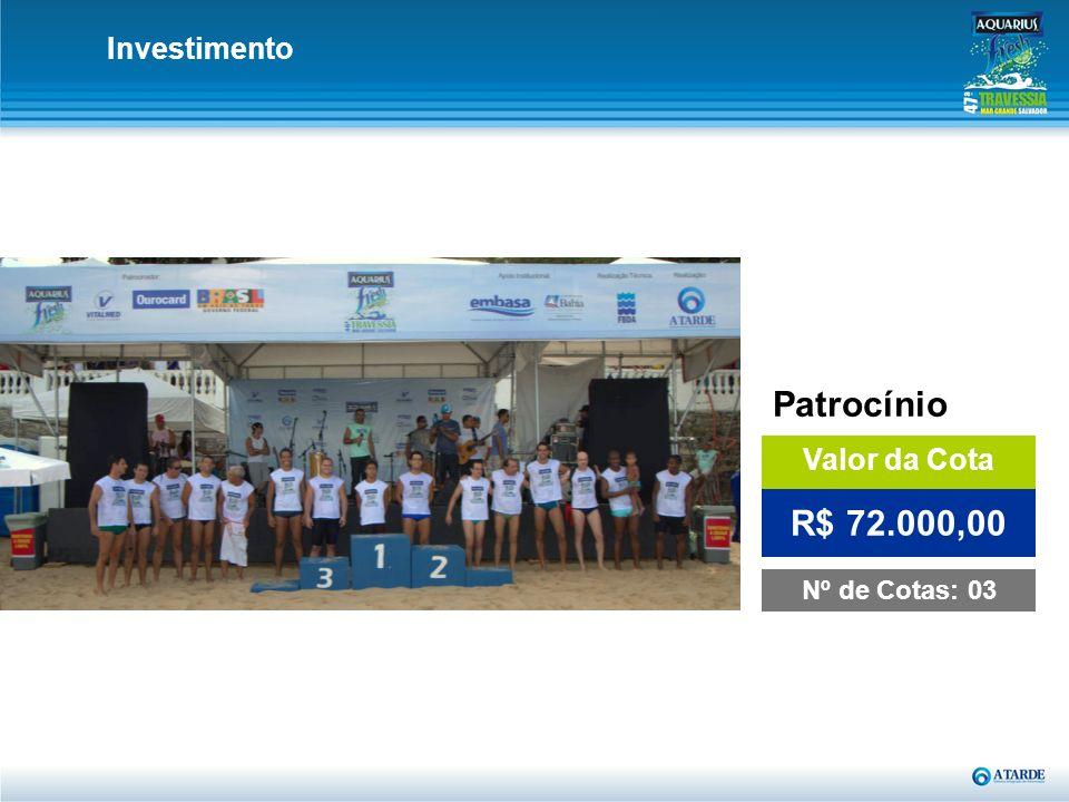 Investimento Patrocínio Valor da Cota R$ 72.000,00 Nº de Cotas: 03