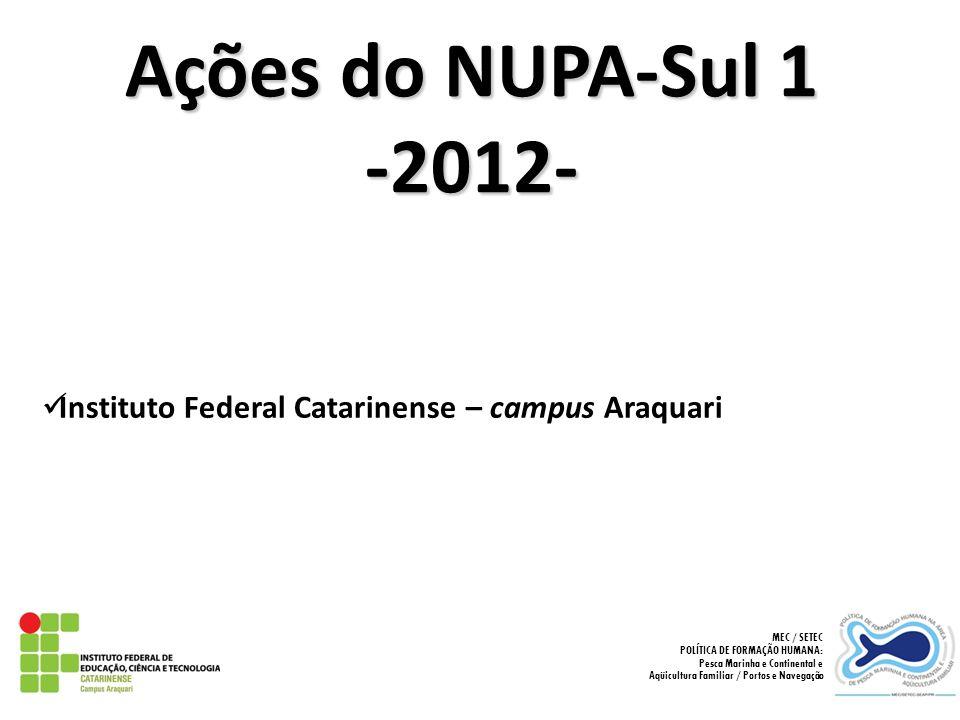 Ações do NUPA-Sul 1 -2012- Instituto Federal Catarinense – campus Araquari. MEC / SETEC. POLÍTICA DE FORMAÇÃO HUMANA: