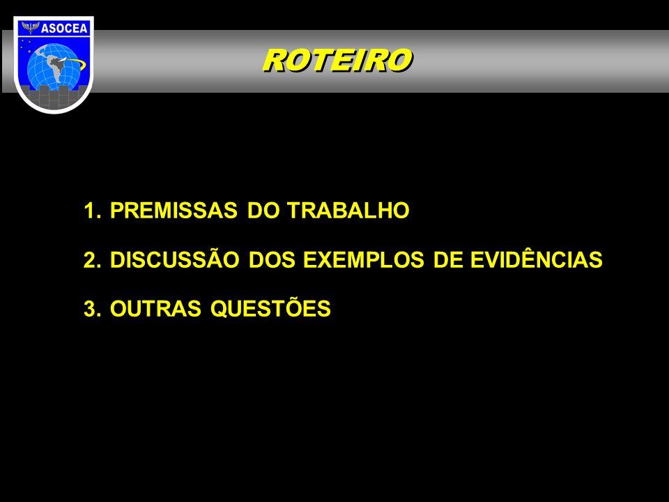 ROTEIRO PREMISSAS DO TRABALHO DISCUSSÃO DOS EXEMPLOS DE EVIDÊNCIAS